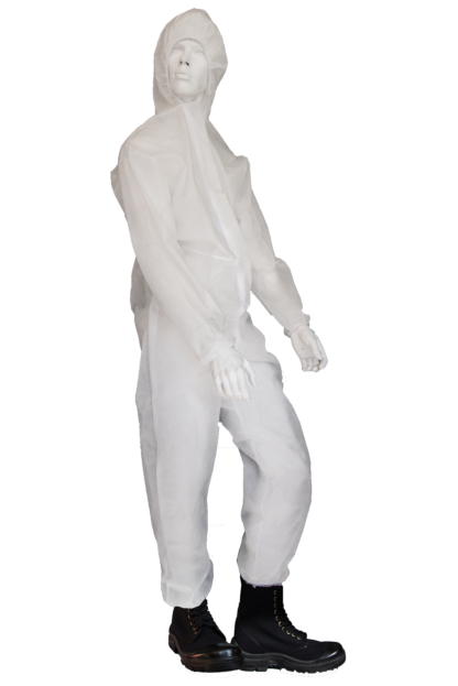 White polypropylene Coverall with hood
